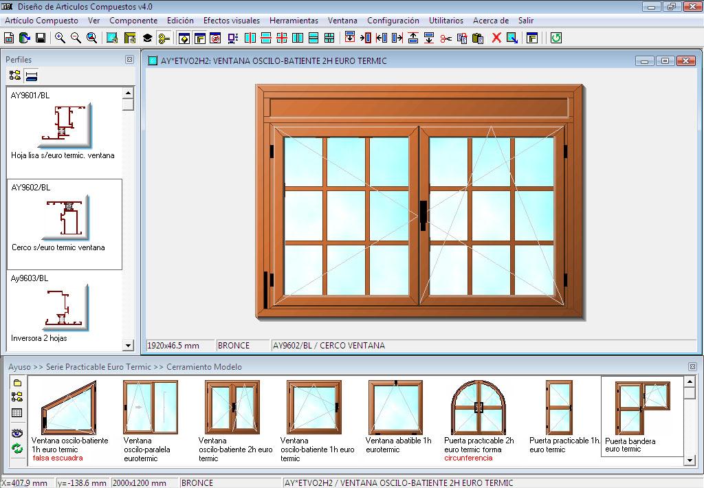 Ingnio programa presupuestos carpinter a de aluminio for Perfiles pvc para aberturas